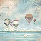STAMPERIA DFT335 - Tovaglioli in carta di riso, paesaggio marino, mongolfiera, multicolore, 30 x 25 cm