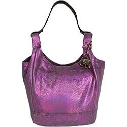 Anokhi Beuteltasche Bernadette (BxHxT) 46x36x15 cm, Metallic Leder, Pink