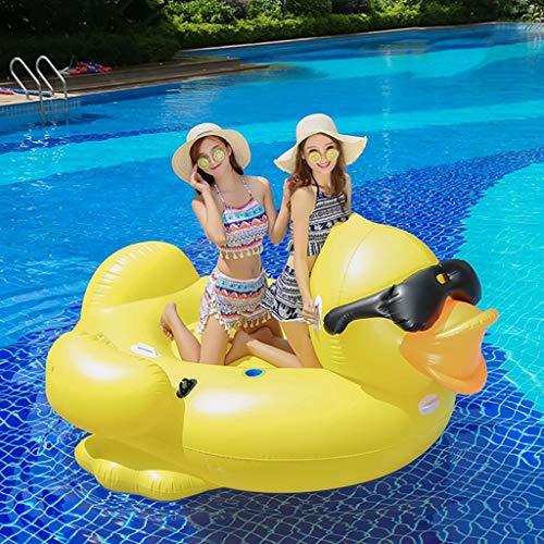 Pool Floss Aufblasbares Pool Schwimmbad Riesiger Aufblasbarer Sunglass-Gelb-Enten-Schwimmen-Reiter Auf Pool-Spielwaren Schwimmt Spaß-Wasserfloß-Luftmatratze (Riesiges Aufblasbares Floß)
