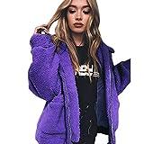 iHENGH Vorweihnachtliche Karnevalsaktion Damen Winter Lässig Stilvoll Reißverschluss Jacke Dicker Warm Bequem Parka Mantel Freizeitjacke Pullover Outwear Frauen Coat (3XL,Lila)