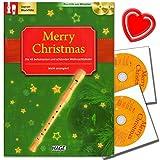 Merry Christmas, Ausgabe für C-Instrumente (Blockflöte) - 45 Weihnachtslieder plus 2 CDs zum Mitspielen! Mit bunter herzförmiger Notenklammer
