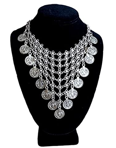 Metal Mesh Tribal Coin Boho Ethnic Choker Necklace by Pashal