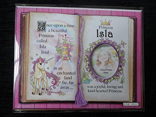 Geschenk für Isla Prinzessin Einhorn rosa Halterung mit spezieller Vers und Auswahl der Bilderrahmen