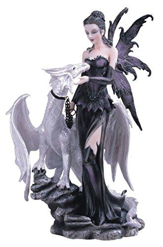ts ss-g-91466schwarz Fee mit White Dragon Collectible Figur Dekoration Statue ()