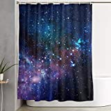 Cortina de la duch, Waterproof Shower Curtains 60x70 Inches Blue Purple Galaxy Bathroom Shower Curtains Quickdry Fabric Bath Decor Set with Hooks Gift