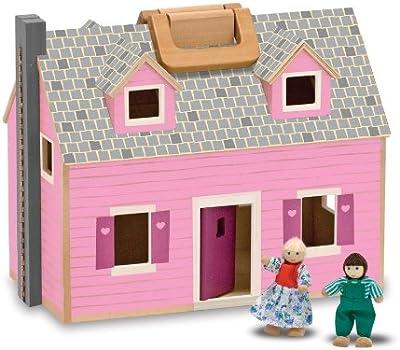 Melissa & Doug - Casa de muñecas de madera plegable y portátil (13701)