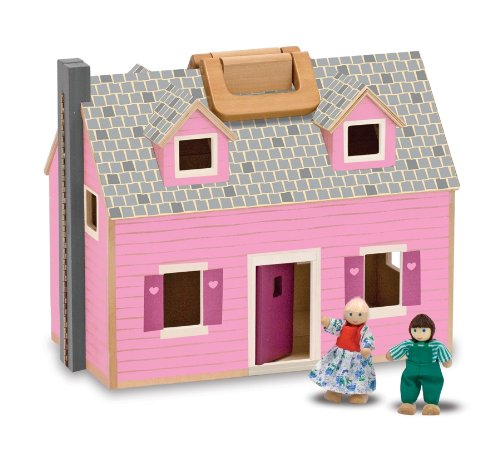 Melissa & Doug Fold and Go Wooden Doll's House With 2 Dolls and Wooden Furniture