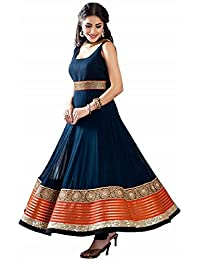 Florence Women's Georgette Anarkali Dress Material (Semi-stitched_SL005_Blue_FreeSize)