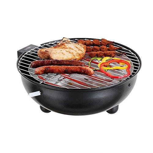 Barbecue elettrico da tavolo, con griglia in acciaio/vassoio di alluminio, 1250w, 6070