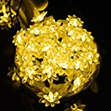 Outdoor Solar String Lights Lotus Flower 30 LED(19.7ft) Waterproof Decoration Lighting Solar Powered LED Party Rope Lights For Indoor Outdoor Patio Lawn Garden Christmas Holiday Festivals (Warm White)