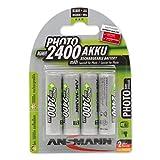 ANSMANN wiederaufladbar Akku Batterie Mignon AA 2400mAh NiMH ohne Memory-Effekt 4er Pack Photo Fotoakku Digitalkamera