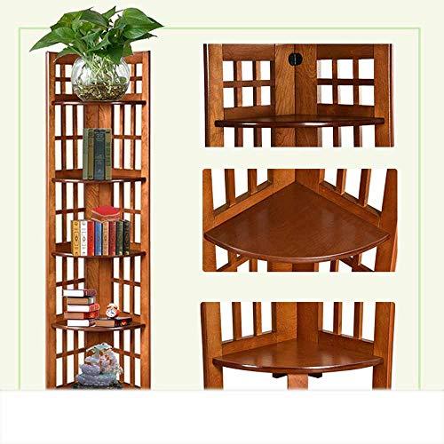 MDD Regal Multifunktionswinkel Ständer Regal Display Ständer Ecke Bücherregal Bücherregal Aufbewahrung Regal Regaleinheit Sammlung Regal Platzsparend und einfach zu installieren,Nussbaum -