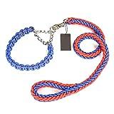 Hundeleine, Nylon Durable Hundeleine Mit Glatte Leine Unterstützt Mittelgroße Hunde Halsband Hund Kette Leine (Farbe : Blue red, größe : XXL)