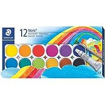 Staedtler Noris Club Deckfarbkasten, 12 Farben, 1 Tube Deckweiß + 1 Pinsel, 888 NC12