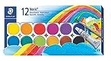 Staedtler Farbkasten Noris Club, leicht mischbare Wasserfarben, hohe Farbbrillanz, hervorragende Deckkraft, Set aus 12 auswechselbaren Farbtöpfchen, 1 Tube Deckweiß und 1 Pinsel, 888 NC12