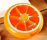 QI3 Round Rotary Pill Box Portable Mini Fructose Pillen Aufbewahrungsbox, orange
