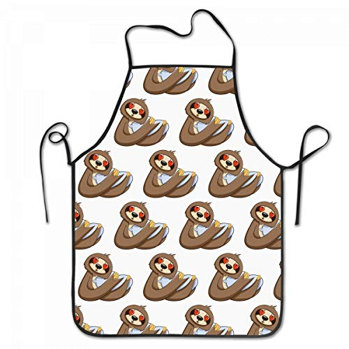 rwwrewre Kitchen Bib Apron Cute Funny Sloth Adjustable for Cooking Baking Kitchen Restaurant Crafting BBQ Unisex Oyster-server