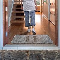 Lifewit Indoor Doormat Super Absorbent Water Low-Profile Mats Machine Washable Non Slip Rubber Entrance Rug for Front Door Inside Dirt Trapper Mats Shoes Scraper - Grey, 60cm x 90cm