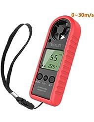 Tacklife Anémomètre Thermomètre Mesure Vitesse Vent avec LCD Rétroéclairage Air-Flow anémomètre portable pour cerf volant, drones, voile, parapente, pêche