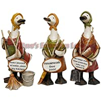 MRS MOP KITCHEN CLEANER MESSAGE DUCKS ORNAMENTS SET OF 3