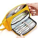 Trousse à crayons de grande capacité durable pour école, étudiant, stylo, papeterie, maquillage, cosmétique, pour filles, 20 x 11 cm jaune