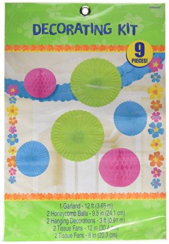 Amscan 240298Hawaiian Gedruckt Papier Fan Dekorationen - Hawaiian Gedruckt