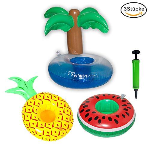 DOCA Aufblasbarer Getränkehalter Inflatable Floating Cup Holder Badespielzeug für Cocktails, Bier, Getränke Getränkehalter Ananas Wassermelon Kokospalme mit Mini-Luftpumpe
