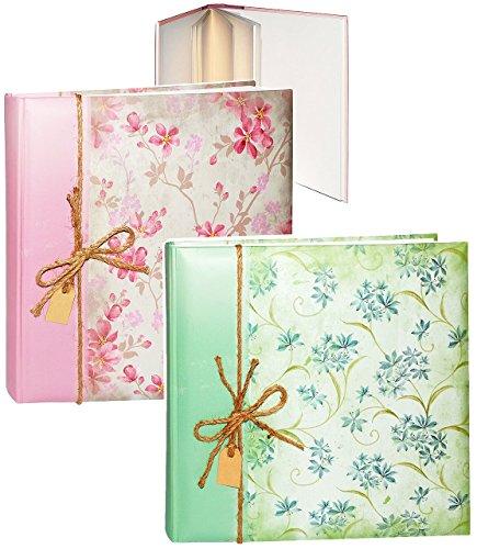 alles-meine.de GmbH 1 Stück _ XL großes Fotoalbum / Fotobuch -  Blütenranken & Blumen - Rose / grün  - Gebunden zum Einkleben - blanko weiß - groß - 100 Seiten für bis zu 600 B..