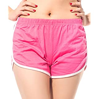 AFUT Sport Fitness Shorts Pyjama Summer Beach White Outline Active Lounge Shorts Women Girls Hot Casual Pants Running Workout Rose red L