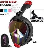 X-Lounger Full Face Mask Faltbare Easy Breathe Seaview 180 Schnorchel-Set für Erwachsene Kinder, UV-Schutz, Linse, Schwarz, Größe L