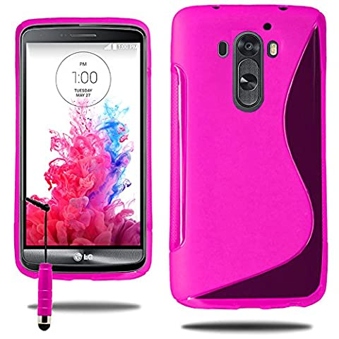 LG G3D850/D851/D855/VS985/LS990: Schutzhülle Silikon Gel, Motiv Line + Eingabestift–Rosa