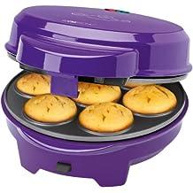 Clatronic DMC 3533 - Máquina de hacer magdalenas, rosquillas, donuts y cake pops, donutera con placas intercambiables, 700 W, color morado