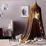 Ommda Moskitonetz Bett Kinder und Baby Betthimmel Moskitonetz Baumwolle Süß und Romantisch für Kinderzimmer und Schlafzimmer Braun 240x50cm (HöhexDurchmesser)