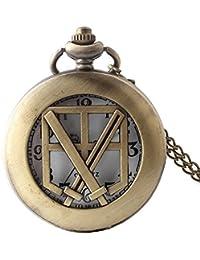 Maybesky Reloj de Bolsillo de la Vendimia Bronce Ahuecado Retro Reloj de Cuarzo con Cadena Caja de Regalo para cumpleaños Aniversario día Nav