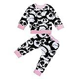 2PCS Set , Tops + Pantaloni , feiXIANG® Neonato Bambino Ragazzi Ragazze Cartoon Top Panda shirt + pantaloni abiti set , cotone , manica lunga (Rosa, 24 Mesi)