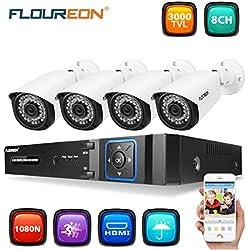 FLOUREON Système de Sécurité de Surveillance 8CH 1080N AHD DVR Enregistreur Vidéo+ 1080P 3000TVL 4X Caméras 2.0MP Vision Nocturne P2P