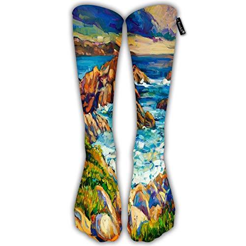 Randell Unisex Classic Knee High Over Calf Ocean Sea Coast Cliffs Canvas Modern Impressionism 3D Print Athletic Soccer Tube Cool Fun Party Cosplay Socks -