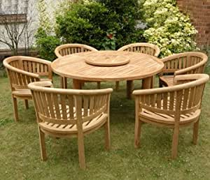 Large Teak Garden Furniture Set Outdoor Wooden Table Chairs Hardwood Patio Dining Direct Teak