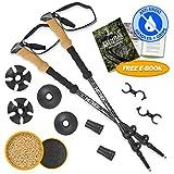 Hitrek Hiking Poles - Lightweight Telescopic Non Slip Trekking Sticks for Men & Women - Ultralight Aluminium & Extra Strong Flip-Locks to Prevent Pole Slippage When Walking - 1 Pair - Black