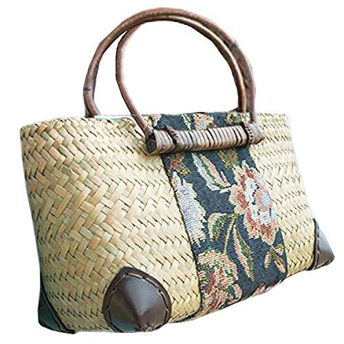 ricamo a mano maglia / tessere borsa di bambù rattan paglia / borse a mano/borse a spalla A tipo giallo