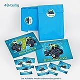12-er Set Einladungskarten, Umschläge, Tüten/blau, Aufkleber 7. Kindergeburtstag Monstertruck Jungen Geburtstagseinladungen Einladungen Geburtstag Kinder Kartenset Auto