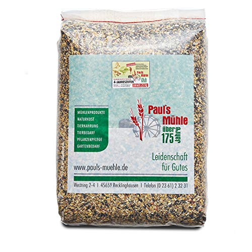 Paul´s Mühle Wildvogelfutter,Ganzjahresfutter für Wildvögel, 4-Jahreszeiten, 25 kg -