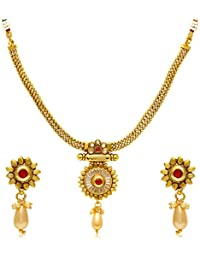 Jewels Galaxy Red Gold Traditional Necklace Set With Pearl Beads