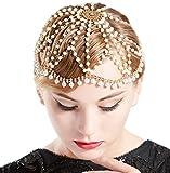 Coucoland 1920s Stirnband Damen Perlen Haar Kette Gatsby Kostüm Fasching Accessoires 20er Jahre Flapper Blinkendes Haarband (Gold)