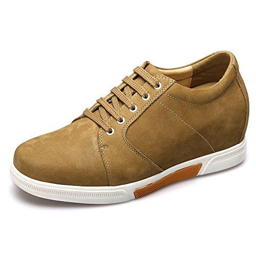 CHAMARIPA Chaussures Rehaussantes Sneakers en Cuir Suède Hautes Homme - Grandit DE 7,5 cm-K70M83 Marron