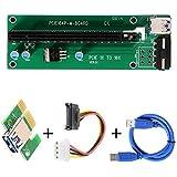 XCSOURCE Adaptateur de Carte Riser Améliorée PCI-E 1X 16X Carte d'extension avec 30cm de Câble d'alimentation USB 3.0 AC330