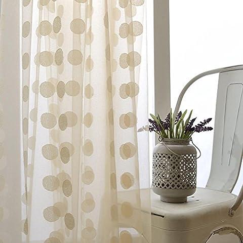 Rideaux transparents Rideaux à fleurs brodés Chambre à coucher pour salon Tulle Rideaux de fenêtre 100cmx270cm (40x108 pouces) -1 Pièce , 100*270cm