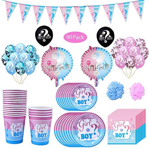 5175687463d Amycute 90 PCS Kit Festa per Baby Shower Gender Reveal Party, con Tazze,  Piatti, tovaglioli, Palloncini in Lattice, coriandoli, bandierina