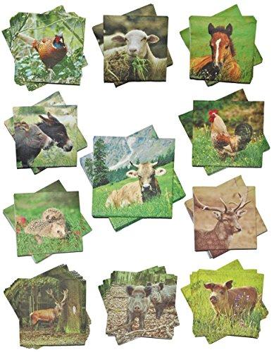 2 Set´s: Servietten - mit verschiedenen Tier Motiven - Serviette Tischserviette Papier Party - Tiere Tierservietten / Waldtiere Bauernhof