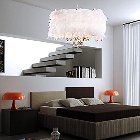 Contemporary Luxuriant White Feather Chandelier with 3 Lights Crystal Drop Featured pendant light for the living room dining room bedroom
